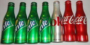 Lot of 7 rare aluminum bottle 8.5 fl oz coca-cola diet coke sprite sealed