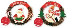 2 x Cute Hanging Christmas Decoration Wicker Wreaths - 1 of Each Design