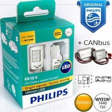 WY21W T20 LED PHILIPS Ultinon Amber Turn Signal Yellow Light Bulbs + CANbus 12V