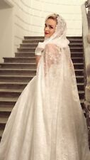 white Lace Long Hooded Cloaks Mantle Wedding Dress Shawl Bridal Gown Cape