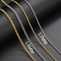 Gold Silver Plated Womens Men Cuban Stainless Steel Plain Necklace Chain Jewelry