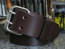 Mens Dark Brown Heavy Duty Leather Belt 2 Prong Double Hole Handmade in USA