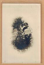 Carte Photo vintage card RPPC femme jupe pull arbuste mode fashion pz0268