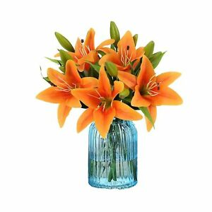 RERXN Artificial Tiger Lily Latex Real Touch Flower Home Wedding Party Decor