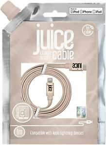 Juice Apple Lightning IPhone Charger Cable 1m Flat Lead USB Gold Fast 3 Amp