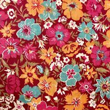"Fabric 1 Yard 44"" Wide Floral Pink Raspberry Orange Teal Apparel Quilting #3U77"