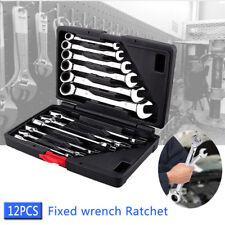 12pc Spanner Wrench Ratchet Ring Box Set Kit 8-19mm Tool Mechanic Car Garage New