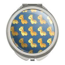 Cute Kawaii Baby Giraffes Pattern Compact Travel Purse Handbag Makeup Mirror