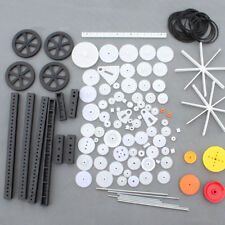92Pcs Plastic Gears Rack Belt Pulley Single/Double Gears Crown Gears for Toys