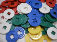 100 VINTAGE MAHJONG MAH JONGG PLAYING CHIPS COINS SQUARE CENTER EXCELLENT USED