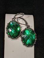 Joan Rivers Gunmetal Gray Green Faceted Oval Dangle Earrings 11315