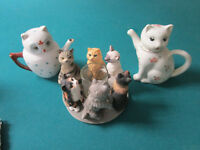LUCKY CATS TEA POTS AND ROUND OF CAT FRIENDS CANDLEHOLDER - PICK ONE