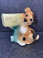 Vintage 1950's Royal Copley Dog & U.S. Mail Box Planter Vase