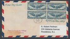 US Sc C24 Special Delivery FDC. 1939 30c Winged Globe, Block of 4