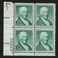 US Scott #1048, Plate Block #25962 1958 Revere 25c FVF MNH Lower Left