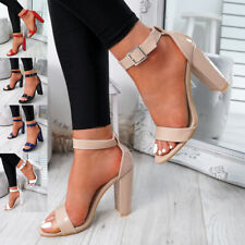 WOMENS LADIES HIGH BLOCK HEEL PARTY SANDALS PEEP TOE ANKLE STRAP SHOES SIZE UK