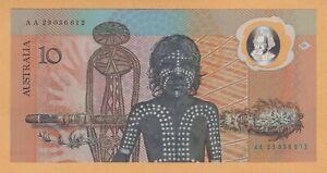 AUSTRALIA $10 DOLLARS COMM IN FOLDER UNC 1988 P-49a AA PREFIX POLYMER BANKNOTE