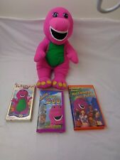 Vintage Barney Foam Puzzle, Stuffed Barney and 3 VHS Tapes