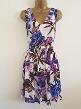 NEW Ex Next Size 8 White Purple Floral Sleeveless Skater Sun Beach Dress