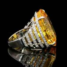 8.48 ct Oval Yellow Citrine Sim Diamond Women's Huge Cocktail Ring in 925 Silver