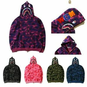 Men's Bape A Bathing Ape Shark Head Camo Full-Zip Hoodie Sweatshirt Jacket Coat