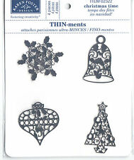 Karen Foster THIN-ments- CHRISTMAS TIME scrapbooking (4) PCS tree snowflake bell