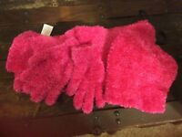 New Faded Glory super soft poly scarf, cap, and  glove set one size pink