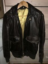 Aviator Bomber Brown Leather Jacket Size 34 Schott Nyc