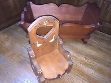 Vintage Hand Made Natural Wood Toy Doll Furniture Bed and Chair Child's Play Set