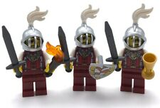 LEGO 3 NEW CASTLE ROYAL LION KNIGHT MINIFIGURES WITH SWORDS WHITE PLUMES TORCH