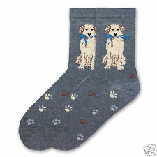 K.Bell Dog with Lease in Mouth Ladies Crew Heather Gray Cotton Blend Socks New