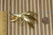 Very CUTE Vintage Goldtone TIED SWAG WITH RINGS Textured  BROOCH PIN  UNIQUE