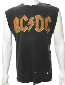 AC/DC Vtg Y2K 2000 Men's L Large Gray Orange T Shirt Logo Distressed Tank GUC
