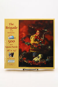 """New Bob Byerley The Brigade 500 Piece Jigsaw Puzzle Fire Fighter 18""""x24"""" Sealed"""