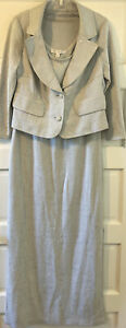 St. John evening 3 Pc. suit. Silver jacket, maxi skirt and tank. size 10
