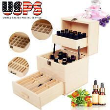 Essential Oil Case Wooden Storage Box Multi Tray Carry Organizer Oils Container