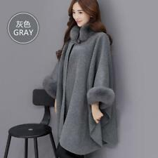 Women's Fur Collar Woollen Overcoat Cape Shawl Cloak Coat Outwear Cardigan Tops