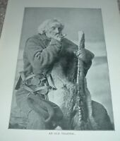 1902 Antique Print AN OLD TRAPPER Canada
