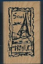 TRAVEL POSTAGE Post Card Words ART IMPRESSIONS Wood Mount craft Rubber Stamp