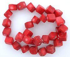 10mm Dice Cube Square Peach Salmon Coral 16 Inch Bead Strand Gemstone cb41