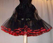 Petticoat Rock'n Roll 50er Stil Pettycoat Rockabilly Schwarz-Rot 34-44