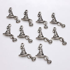 10pcs Tibetan Silver Wizard / Witches Hat Charm Pagan / Wicca / Halloween