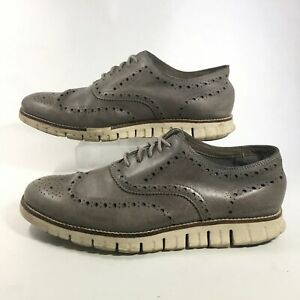 Cole Haan ZeroGrand Wing Tip Oxford Mens 10M Grey Lace Up Leather Casual Shoes