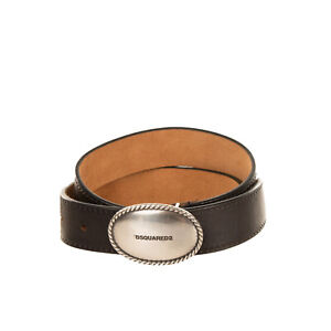 RRP €180 DSQUARED2 Leather Belt Size 80/32 Engraved Blank Buckle Made in Italy