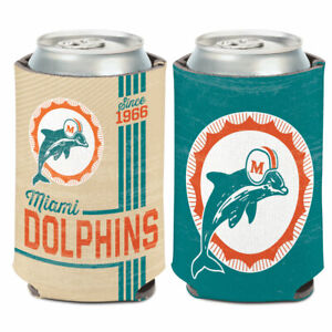 MIAMI DOLPHINS VINTAGE STYLE SOFT FOAM CAN BOTTLE COOZIE COOLER KOOZIE