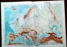 Carta geografica antica EUROPA FISICA EUROPE De Agostini 1927 Old Antique map