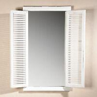 72CM Wandspiegel mit Fensterladen + Ablage im Shabby Chic weiß Holz Spiegel NEU