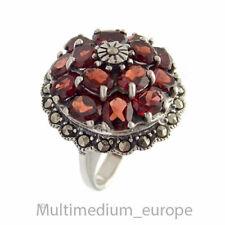 Art Deco Stil Silber Ring Granat Markasit silver garnet marcasites 🌺🌺🌺🌺🌺