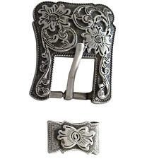 Western Screw Back Concho Antique Silver Buckle Set - 1.5 Inch U-N055