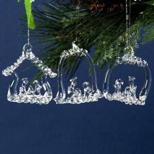 Set of Three Festive Clear Glass Christmas Tree Xmas Decorations Nativity Scene